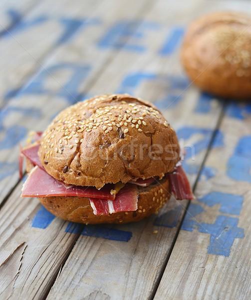Jamón mesa de madera fiesta madera carne sándwich Foto stock © zoryanchik