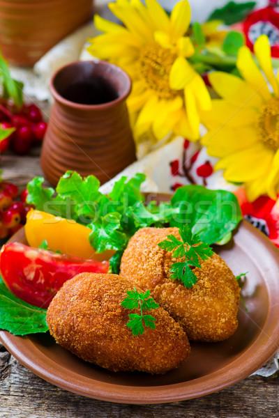 Tavuk geleneksel yemek stil rustik seçici odak Stok fotoğraf © zoryanchik