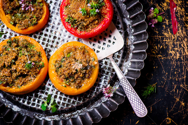 Stock photo: baked stuffed tomatoes