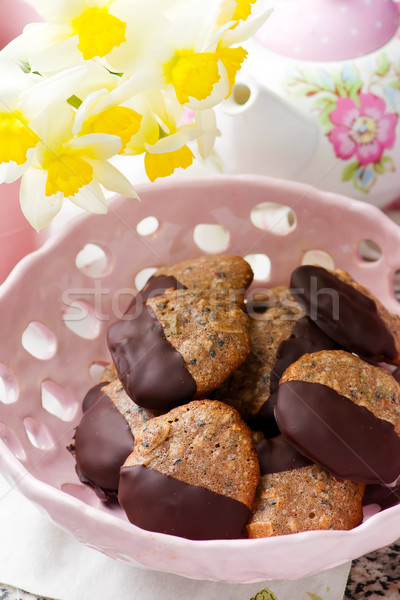 chocolate dipped seed cookies.style vintage Stock photo © zoryanchik