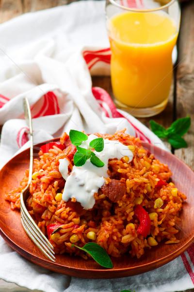 Microonda estilo rústico atención selectiva alimentos rojo Foto stock © zoryanchik