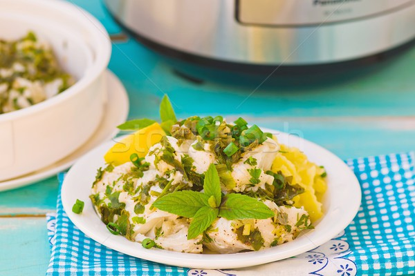 cod fillet with greens  Stock photo © zoryanchik