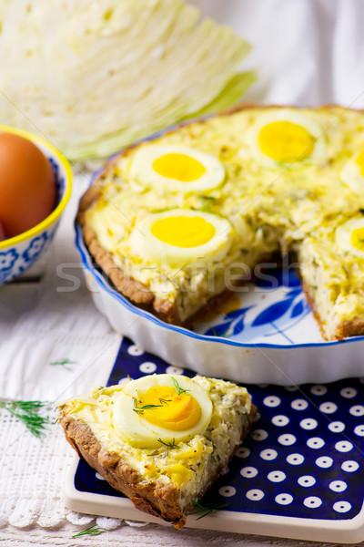 Stockfoto: Kool · eieren · selectieve · aandacht · vis · achtergrond · taart
