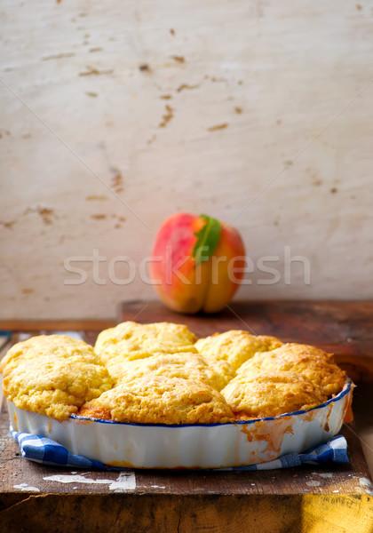 Peach cornmeal cobbler . style vintage Stock photo © zoryanchik