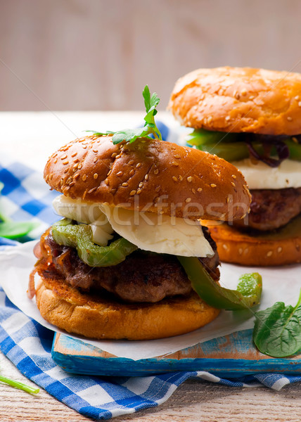Chicken Sausage Burger. Stock photo © zoryanchik