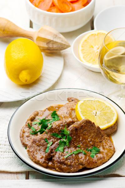 Lemon Scaloppine.style rustic. Stock photo © zoryanchik