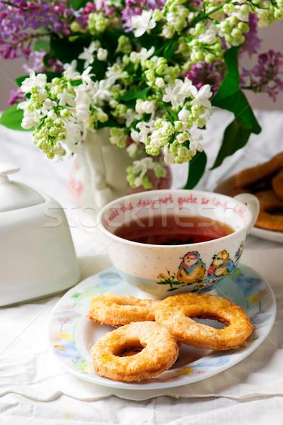 Panna acida vintage alimentare tavola fresche cookie Foto d'archivio © zoryanchik