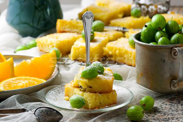 Gooseberry and  orange drizzle cake Stock photo © zoryanchik