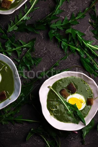 CREAMY WILD GARLIC SOUP WITH DANDELION LEAVES  Stock photo © zoryanchik
