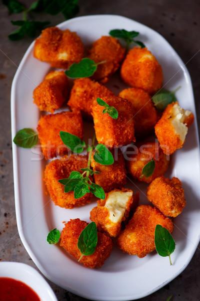 Halloumi Nuggets with Marinara Dipping Sauce.selective focus Stock photo © zoryanchik
