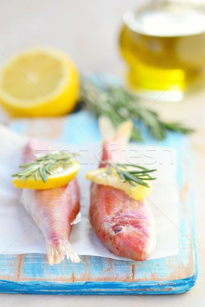 Friss nyers étel hal természet piros Stock fotó © zoryanchik
