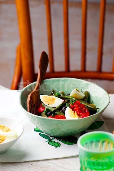 Stockfoto: Salade · groene · bonen · olijven · ei · stijl · vintage