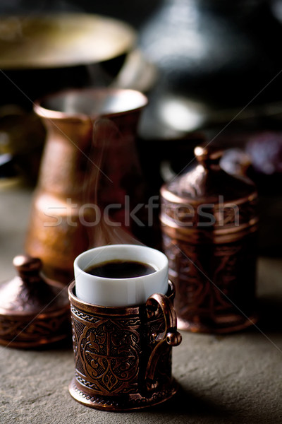 coffee in metal Turkish traditional cups Stock photo © zoryanchik