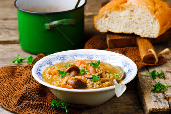 MUSHROOM BARLEY SOUP.selective focus Stock photo © zoryanchik