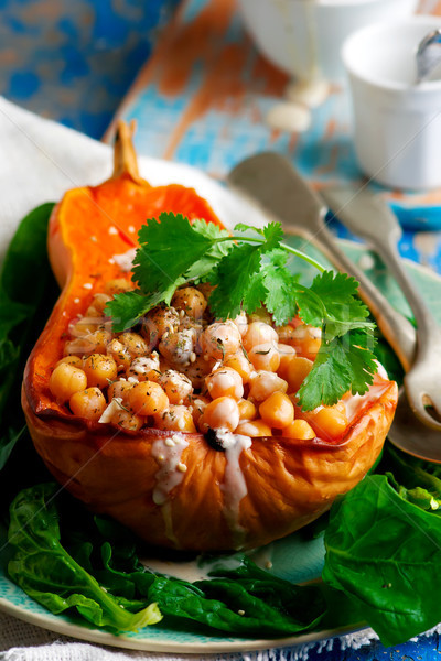 Butternut Squash with Chickpeas, Tahini and Za'atar.selective focus Stock photo © zoryanchik