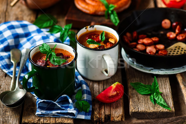 Pumpkin and chorizo soup.style rustic Stock photo © zoryanchik
