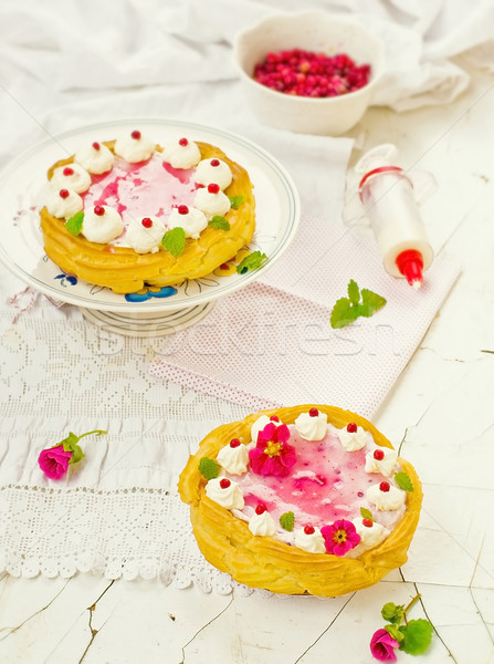 tart  with cottage cheese, cowberry and cream Stock photo © zoryanchik