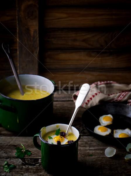 Сток-фото: Картофельный · суп · картофель · жареный · яйца · Vintage · стиль