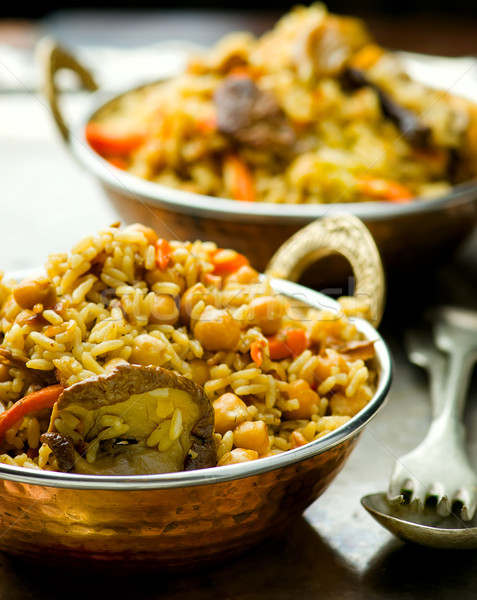 vegetarian pilaf with chick-pea and mushrooms  Stock photo © zoryanchik