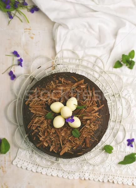 Bolo de chocolate páscoa decoração estilo vintage foco Foto stock © zoryanchik
