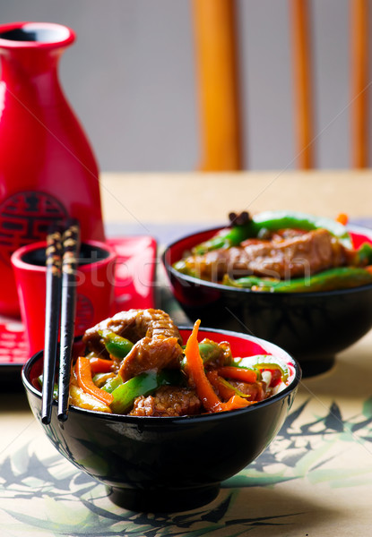 Stock photo: Ginger-Flavored Beef and Vegetable Stir-Fry