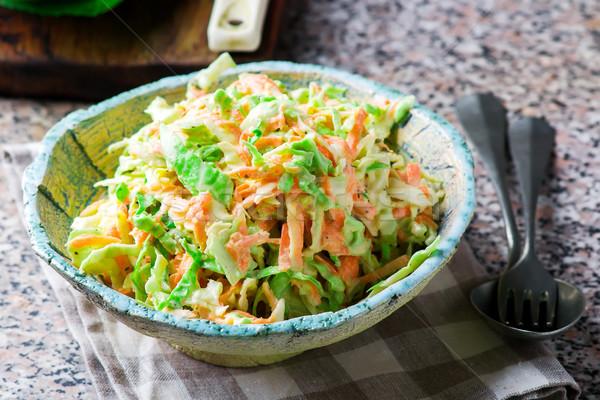 Káposzta saláta kerámia tál stílus rusztikus Stock fotó © zoryanchik