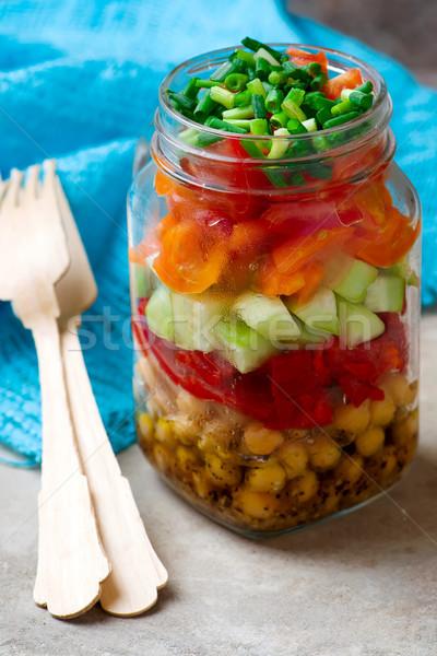 Chickpea maison jar salad Stock photo © zoryanchik