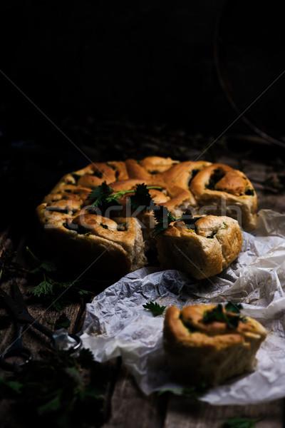 Wild nettle  whole wheat kissed buns. Style rustic.  Stock photo © zoryanchik