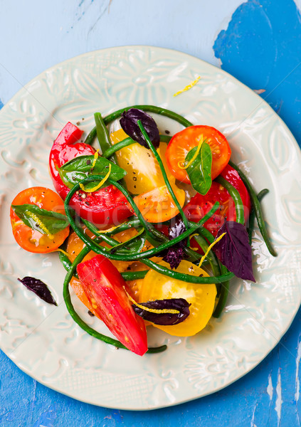 沙拉 綠豆 西紅柿 風格 鄉村 選擇性的重點 商業照片 © zoryanchik