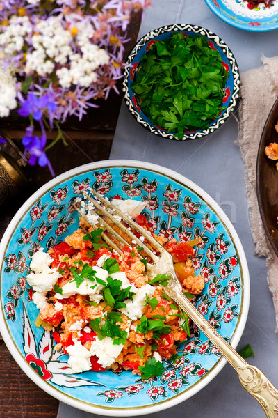 Turkish Scrambled Eggs with Tomatoes and Peppers Stock photo © zoryanchik