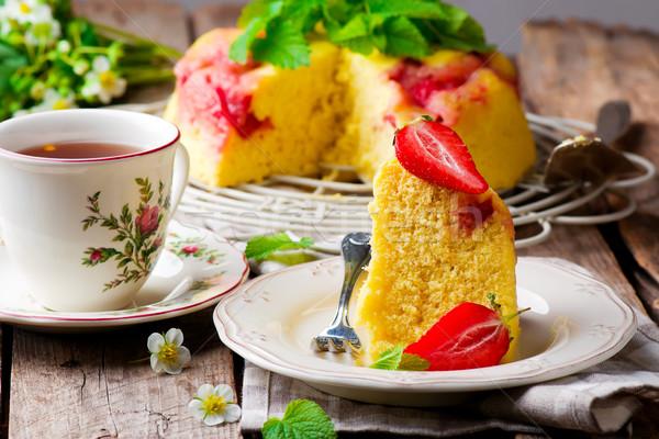 micowave strawberry cake.selective focus Stock photo © zoryanchik