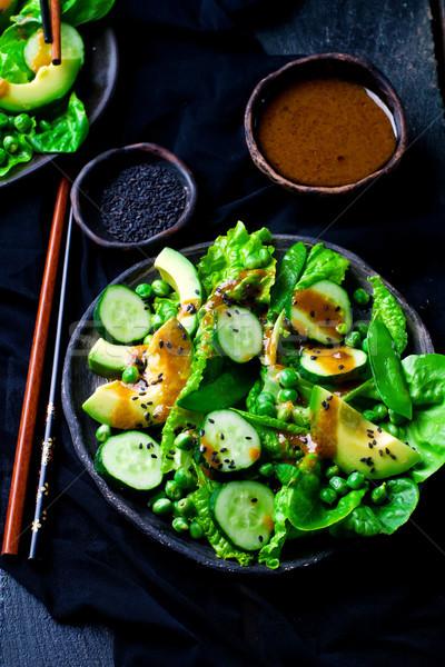 Stockfoto: Groene · salade · dressing · vis · zomer · diner