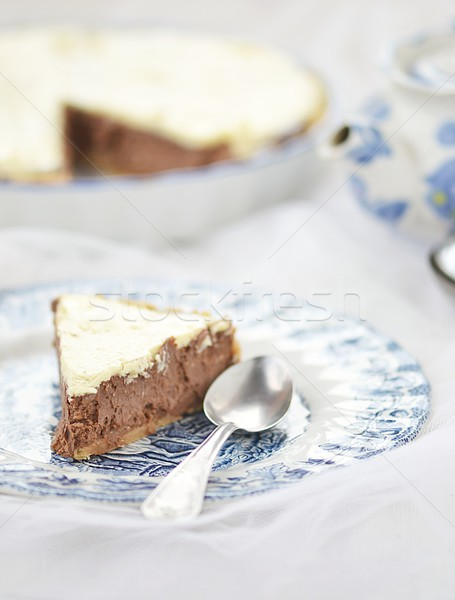 Chocolat cheesecake tranche maison alimentaire fromages Photo stock © zoryanchik