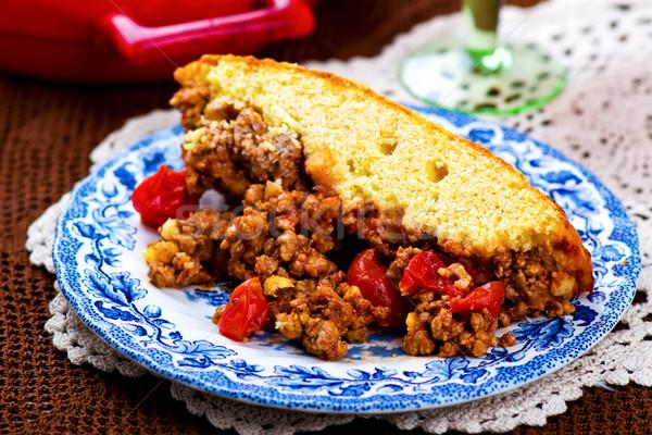 Pudding mięsa selektywne focus tabeli obiedzie Zdjęcia stock © zoryanchik
