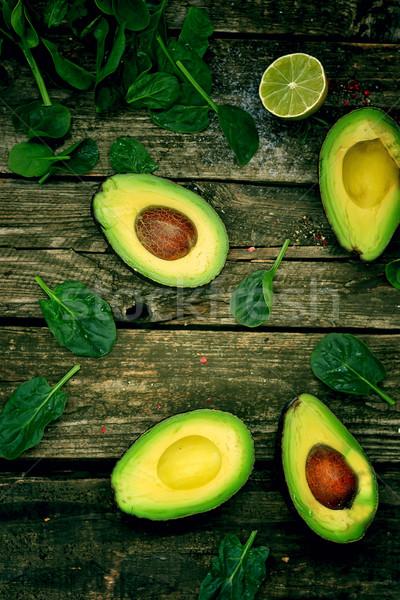 Aguacate frescos verde espinacas alimentos naturaleza Foto stock © zoryanchik