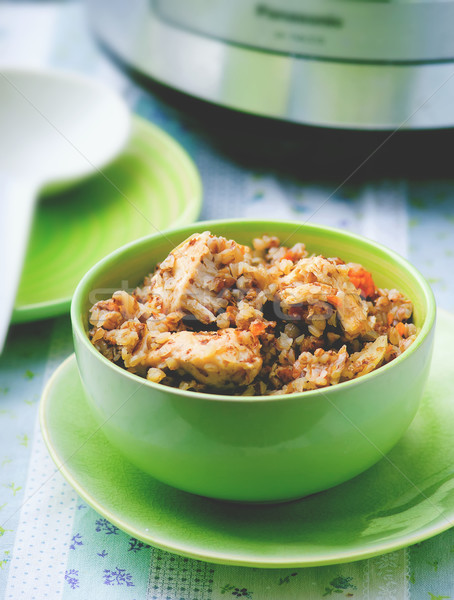 buckwheat with vegetables and chicken  Stock photo © zoryanchik