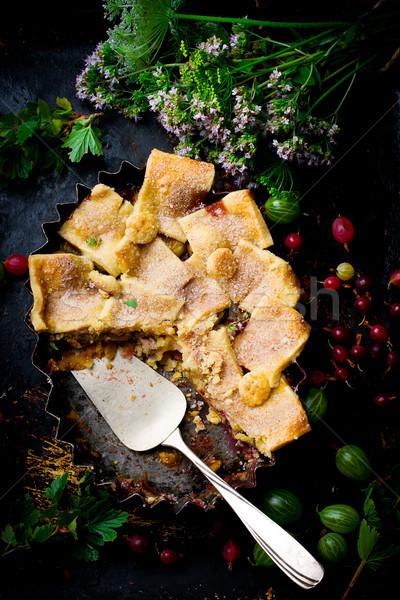 Tákolmány eper pite sötét fotó étel Stock fotó © zoryanchik