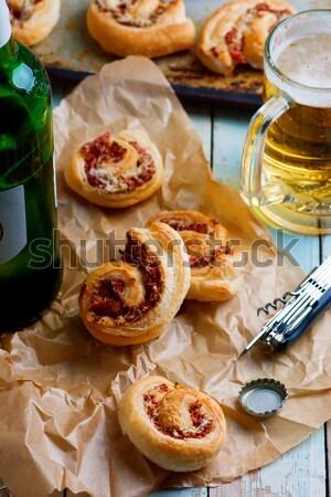 Teljeskiőrlésű búza vérnarancs olívaolaj muffinok étel desszert Stock fotó © zoryanchik