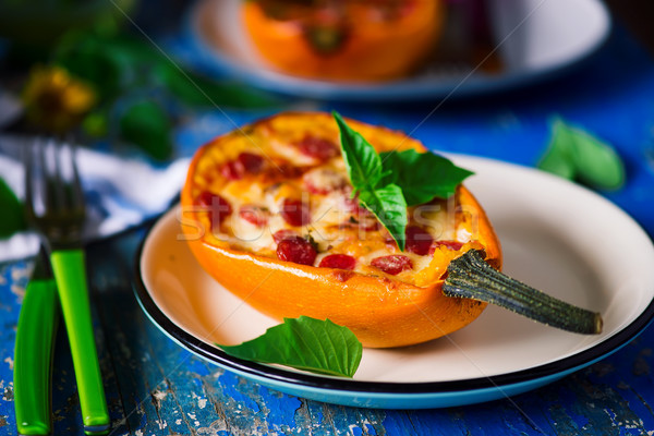 baked spaghetti squash pizza.style rustic. Stock photo © zoryanchik