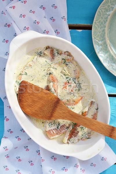 Fırında pişirmek balık fileto gıda arka plan tablo Stok fotoğraf © zoryanchik