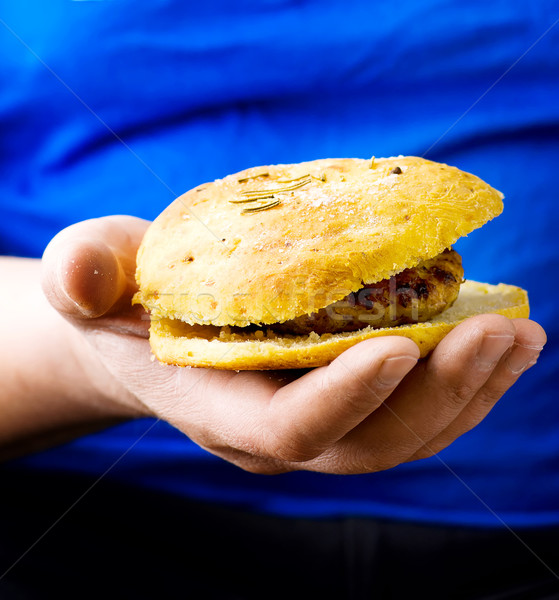 Stockfoto: Kip · hamburger · mannelijke · handen · selectieve · aandacht · groene