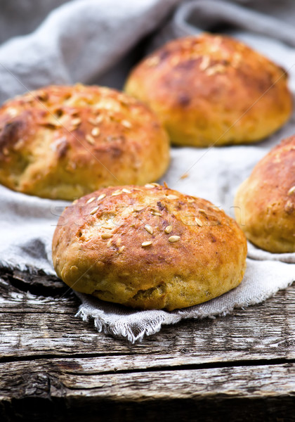 buns with bran and a linen seed. healthy food. Stock photo © zoryanchik