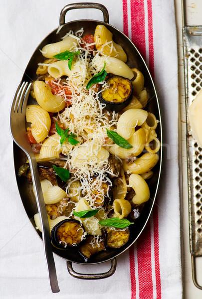 pasta with eggplant Stock photo © zoryanchik