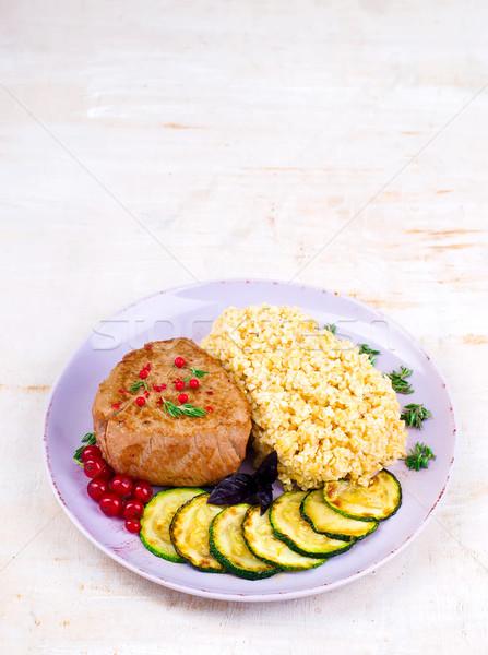 Steak  with bulgur and vegetables Stock photo © zoryanchik