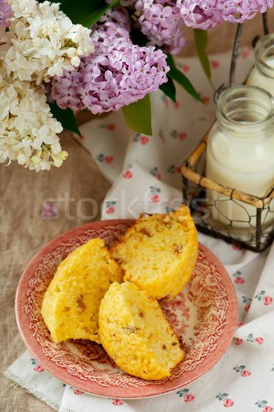 Rabarbar selektywne focus stylu rustykalny ciasto Zdjęcia stock © zoryanchik