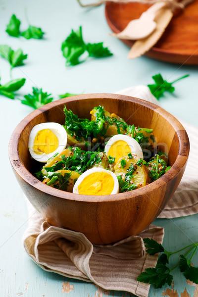 új krumpli tojás saláta szelektív fókusz étel Stock fotó © zoryanchik