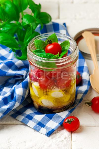 Caprese salatası mason kavanoz stil rustik gıda Stok fotoğraf © zoryanchik