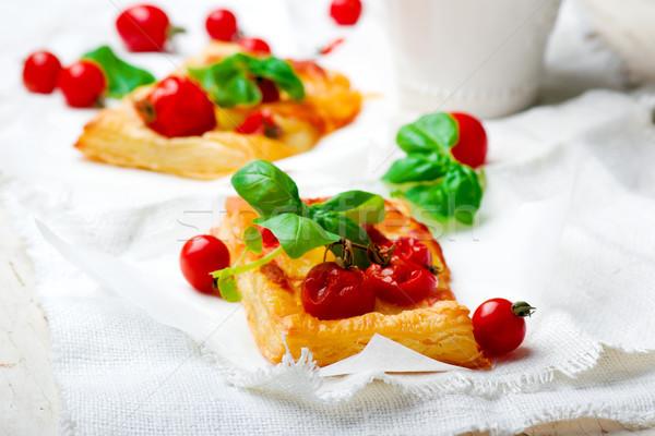 カプレーゼ 朝食 選択フォーカス チーズ 肉 ホット ストックフォト © zoryanchik