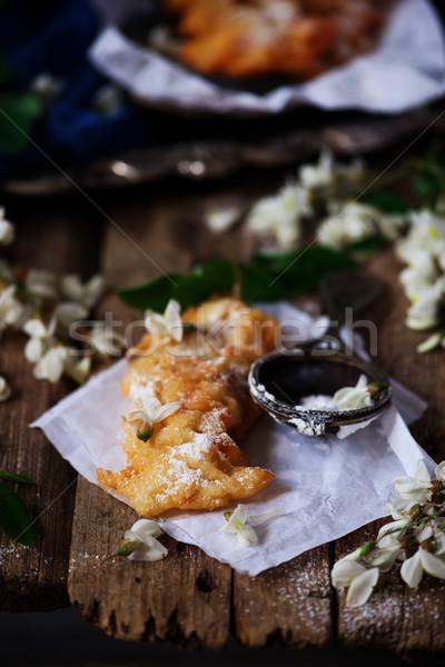 Kwiat rustykalny wiosną tablicy deser cukru Zdjęcia stock © zoryanchik