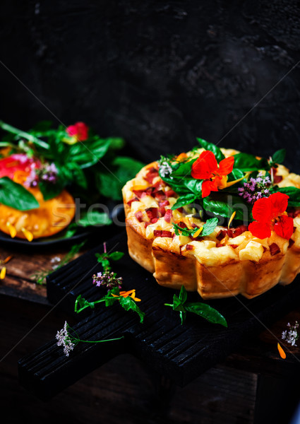 Snack cake with mortadella and cheese.selective focus Stock photo © zoryanchik